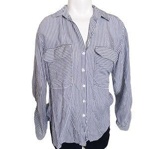 Zara Navy and white thin and slimming stripes